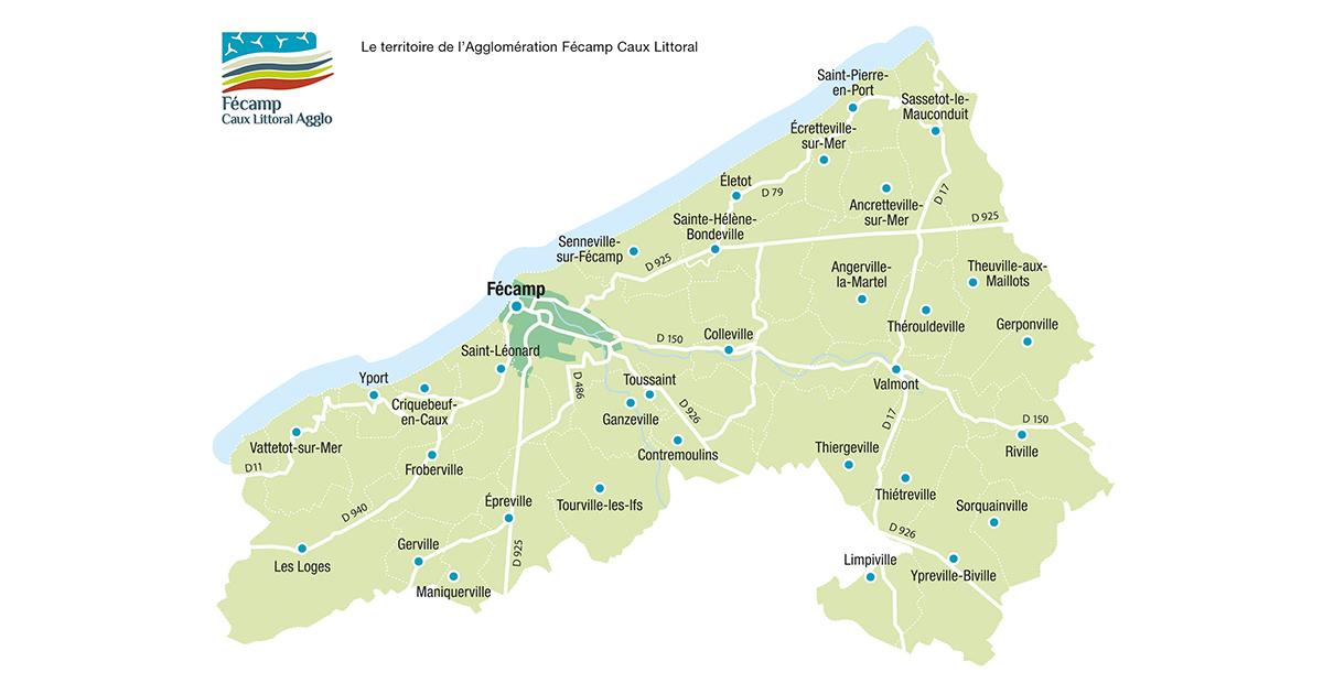 Carte territoriale avec les 33 communes