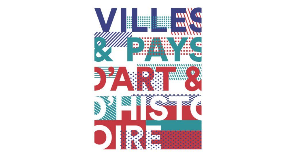Logo ville d'art et d'histoire. écriture bleu vert rouge