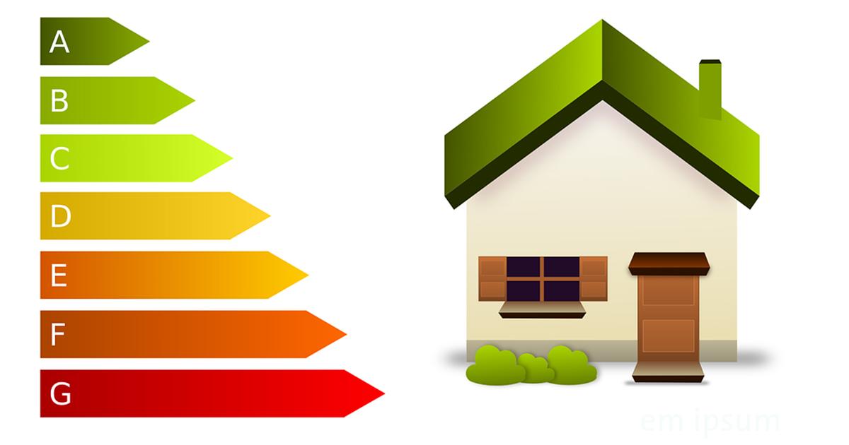Illustration maison avec classement énergétique A à G