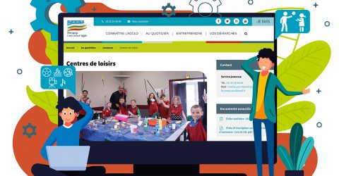 Visuel pour l'inscription en ligne montrant un ordinateur avec la page dédiée aux centres de loisirs