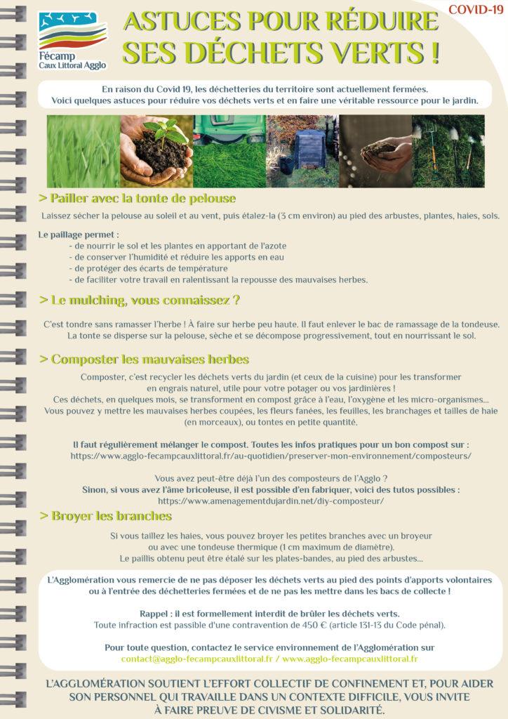 Visuel expliquant les astuces possibles pour réduire les déchets verts.