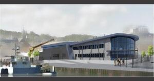 Visuel de la bse de maintenance du parc éolien en mer sur le port de Fécamp